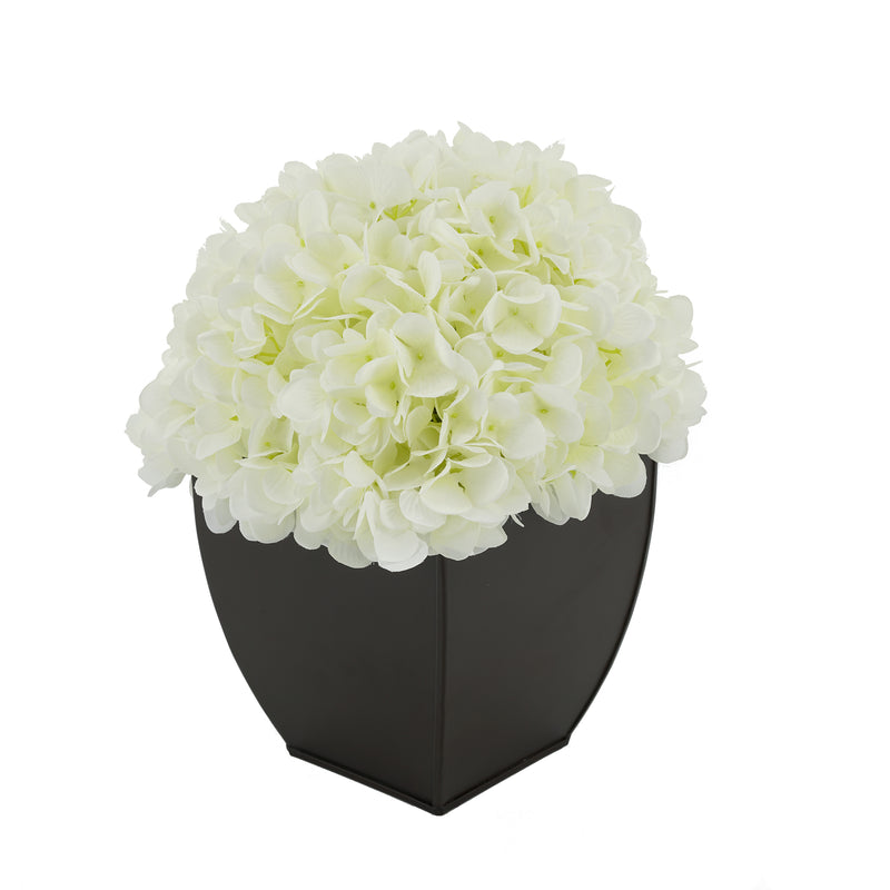 Artificial Hydrangea in Matte Brown Tapered Zinc Cube white