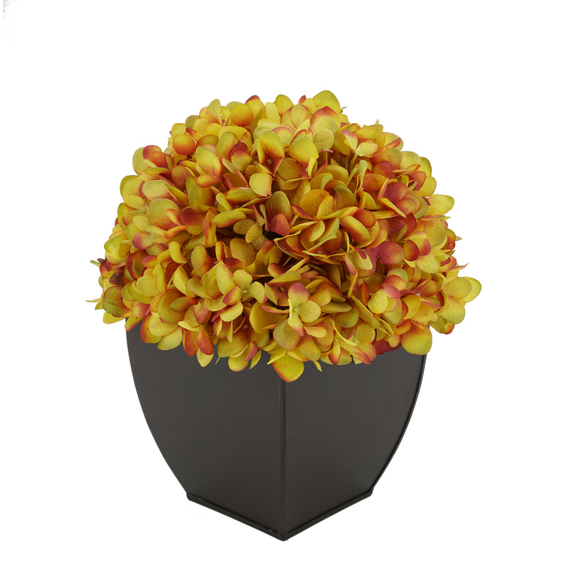 Artificial Hydrangea in Matte Brown Tapered Zinc Cube gold