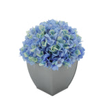 Artificial Hydrangea in Silver Tapered Zinc Cube blue