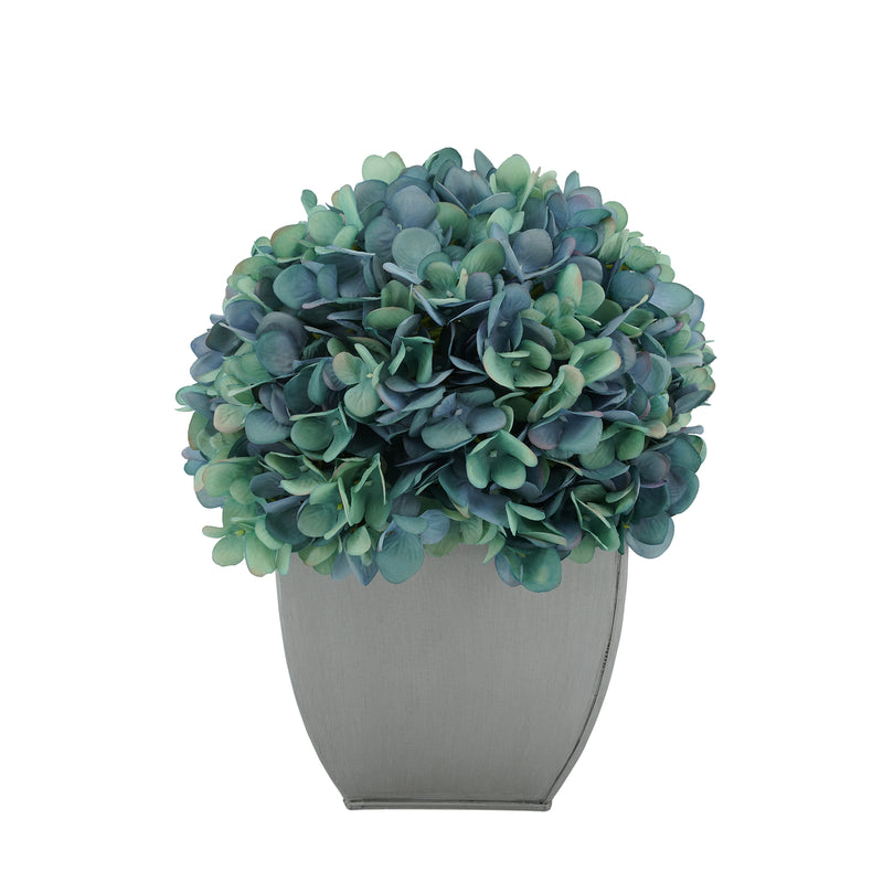 Artificial Hydrangea in Silver Tapered Zinc Cube antique aqua