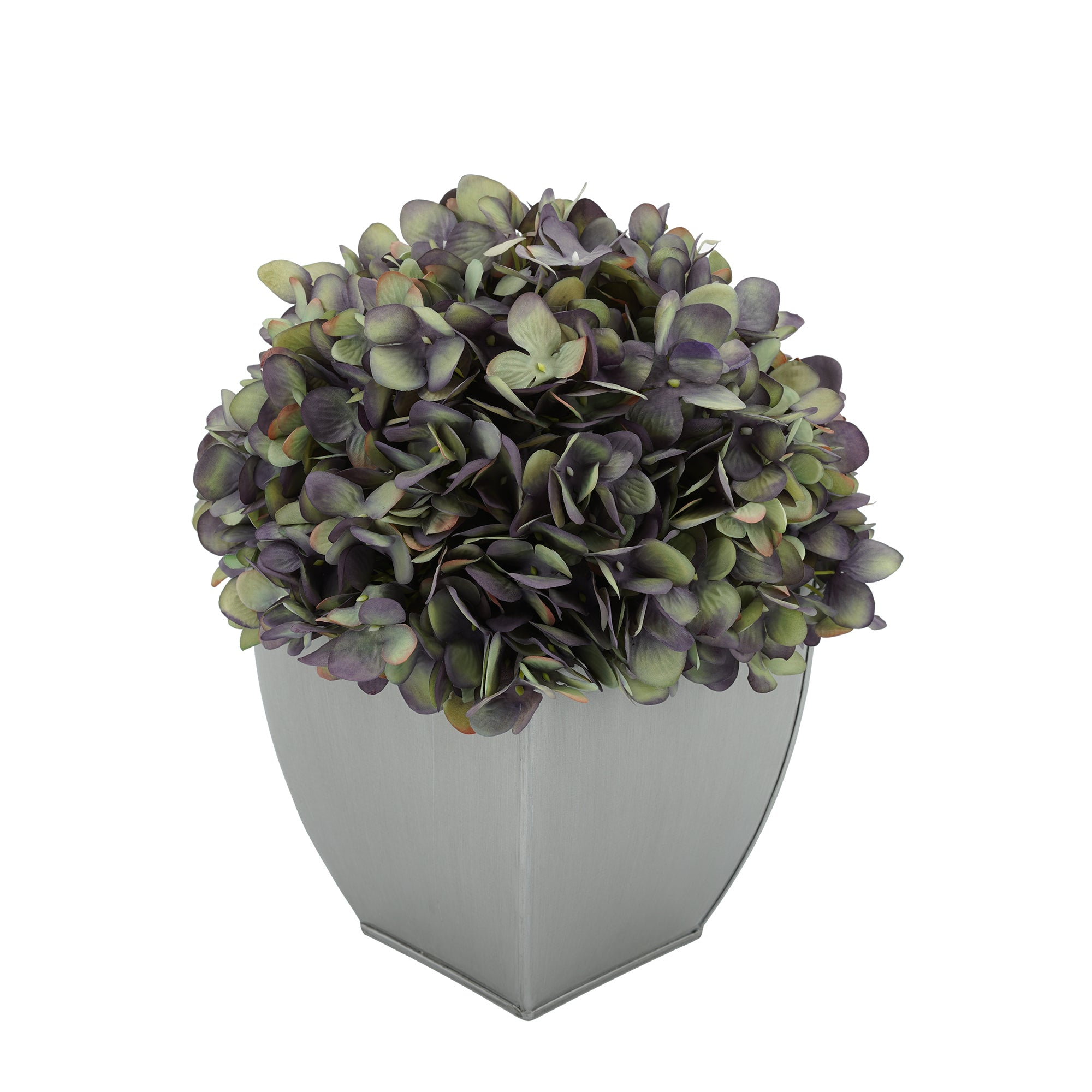 Artificial Hydrangea in Silver Tapered Zinc Cube
