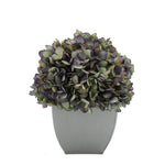 Artificial Hydrangea in Silver Tapered Zinc Cube antique purple