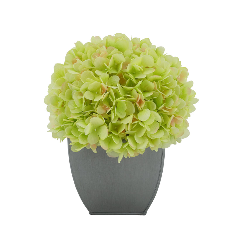 Artificial Hydrangea in Silver Tapered Zinc Cube green