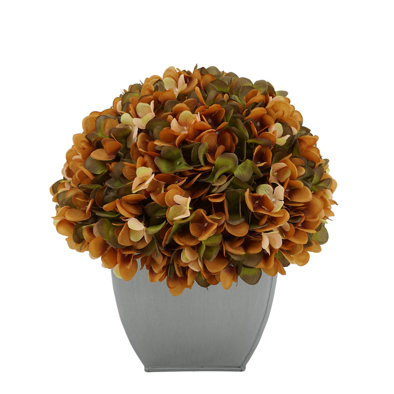 Artificial Hydrangea in Silver Tapered Zinc Cube coffee