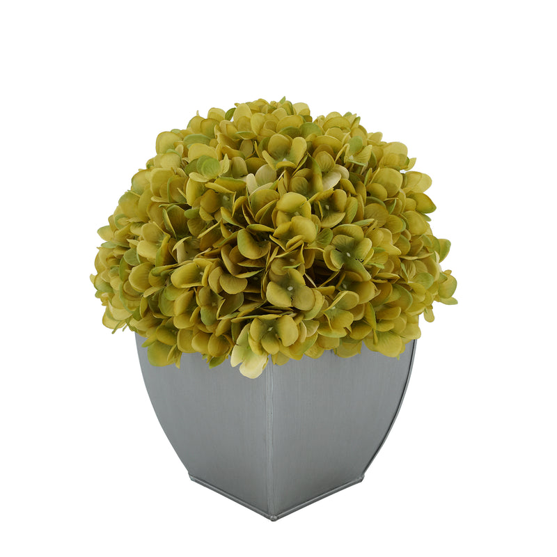 Artificial Hydrangea in Silver Tapered Zinc Cube sage