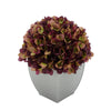 Artificial Hydrangea in Silver Tapered Zinc Cube plum