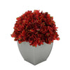 Artificial Hydrangea in Silver Tapered Zinc Cube burgundy