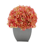 Artificial Hydrangea in Silver Tapered Zinc Cube coral