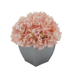 Artificial Hydrangea in Silver Tapered Zinc Cube pink