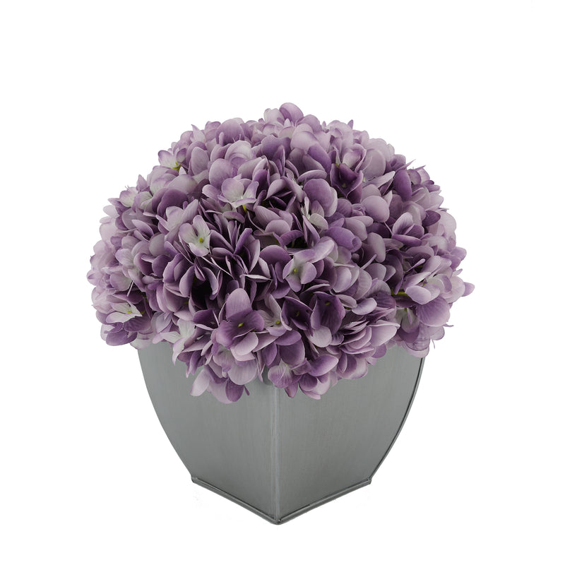 Artificial Hydrangea in Silver Tapered Zinc Cube lavender