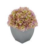 Artificial Hydrangea in Silver Tapered Zinc Cube lilac