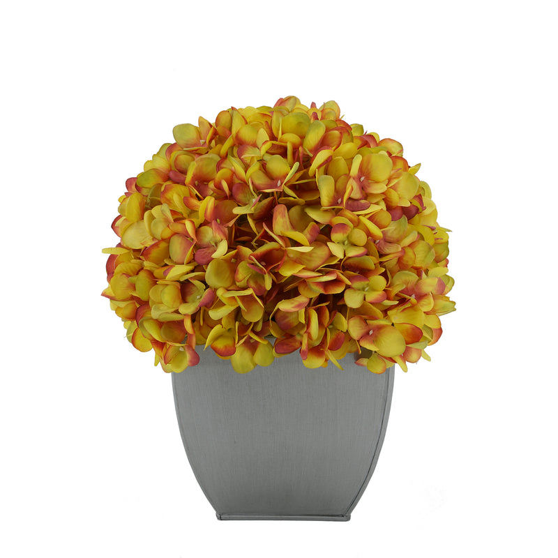 Artificial Hydrangea in Silver Tapered Zinc Cube gold