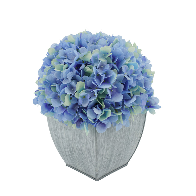 Artificial Hydrangea in Farmhouse Tapered Zinc Cube Blue