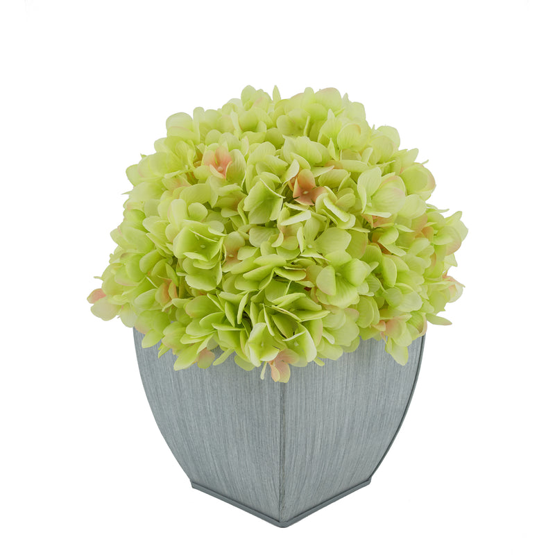 Artificial Hydrangea in Farmhouse Tapered Zinc Cube Green
