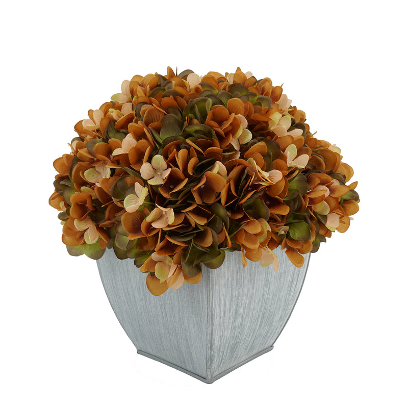 Artificial Hydrangea in Farmhouse Tapered Zinc Cube Coffee
