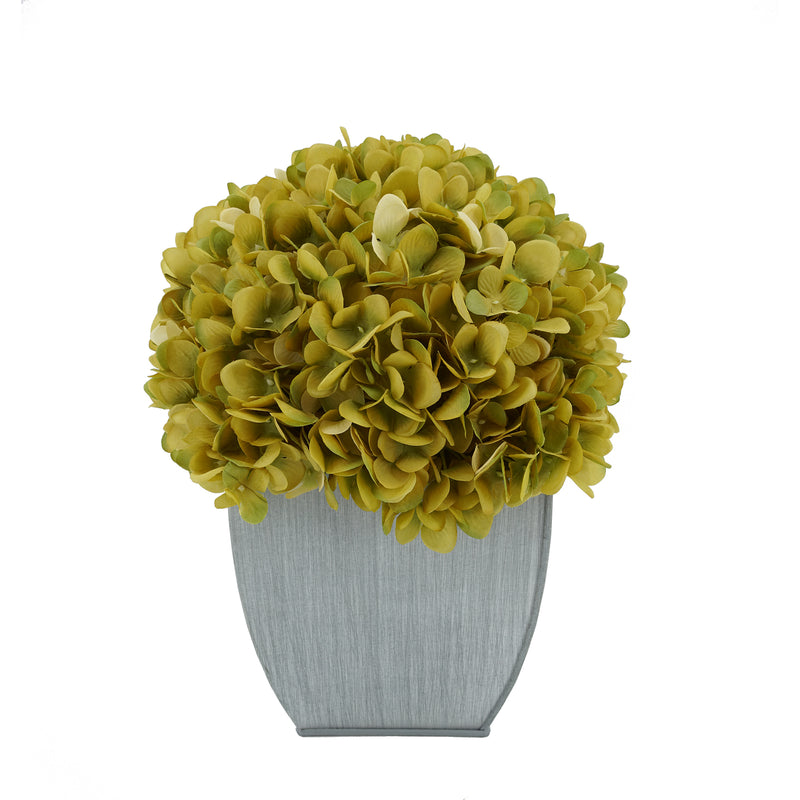 Artificial Hydrangea in Farmhouse Tapered Zinc Cube sage