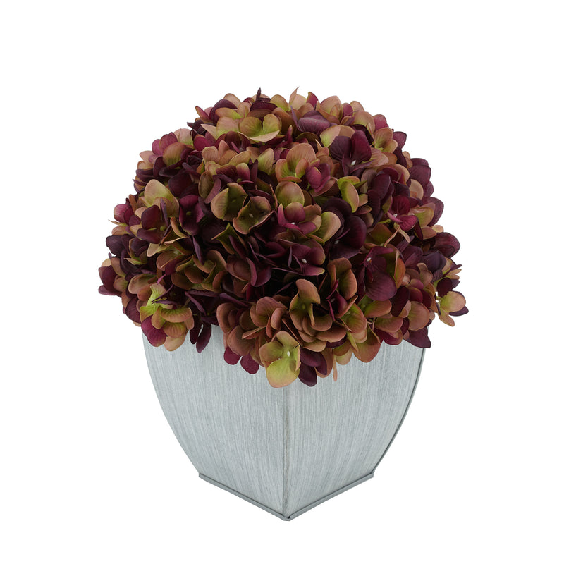 Artificial Hydrangea in Farmhouse Tapered Zinc Cube plum