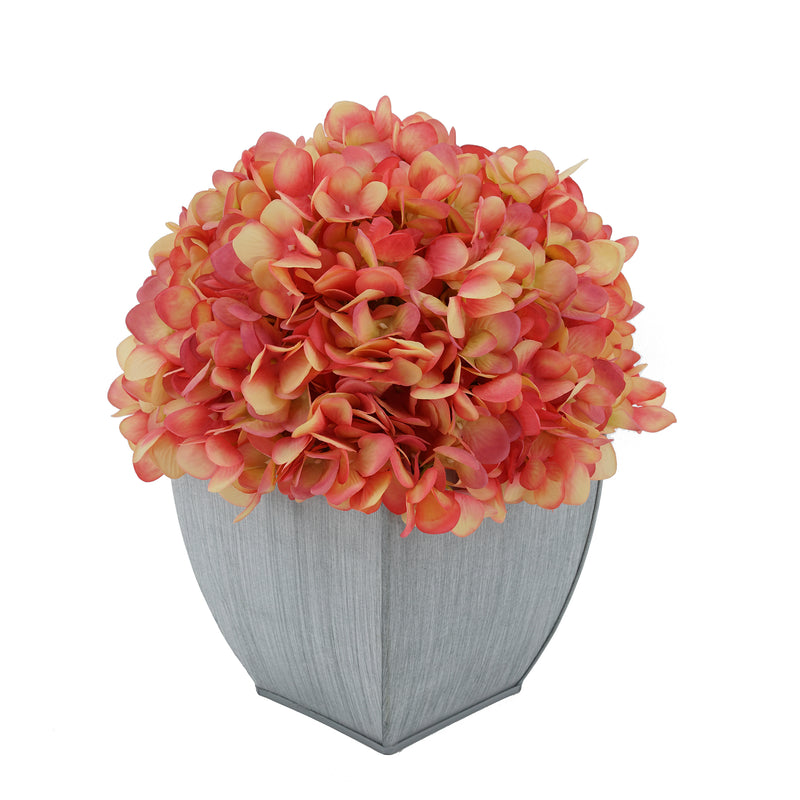 Artificial Hydrangea in Farmhouse Tapered Zinc Cube coral