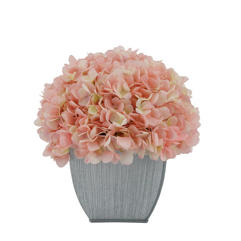 Artificial Hydrangea in Farmhouse Tapered Zinc Cube pink