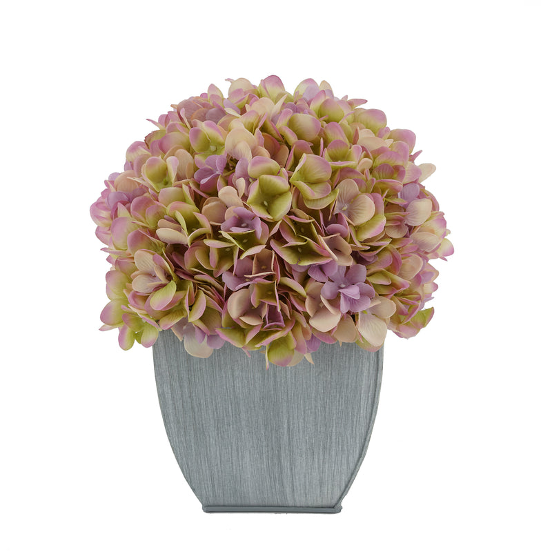 Artificial Hydrangea in Farmhouse Tapered Zinc Cube lilac