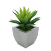 Faux Frosted Light Green Succulent in Silver Tapered Zinc Pot
