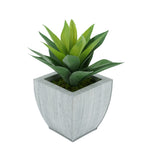 Faux Frosted Light Green Succulent in Farmhouse Tapered Zinc Pot