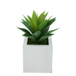 Faux Frosted Light Green Succulent in Cream Square Zinc Pot