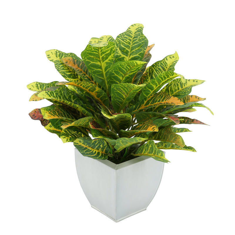 Faux Croton Houseplant in Tapered Zinc Pot