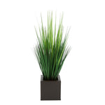 Faux Grass in Matte Brown Square Zinc Cube