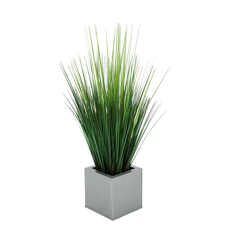 Faux Grass in Silver Square Zinc Cube