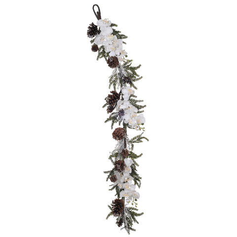 60-inch Iced Phalaenopsis Orchid/Pine Garland
