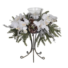 Iced Phalaenopsis Orchid/Pine Single Candle Holder - House of Silk Flowers®