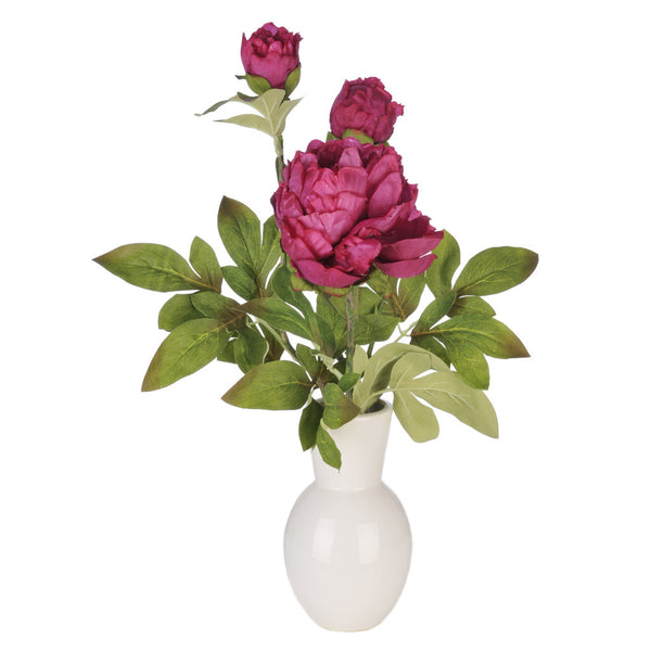 Artificial Fuchsia Peony in White Ceramic Vase