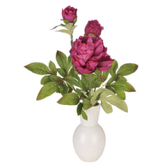 Artificial Fuchsia Peony in White Ceramic Vase - House of Silk Flowers®