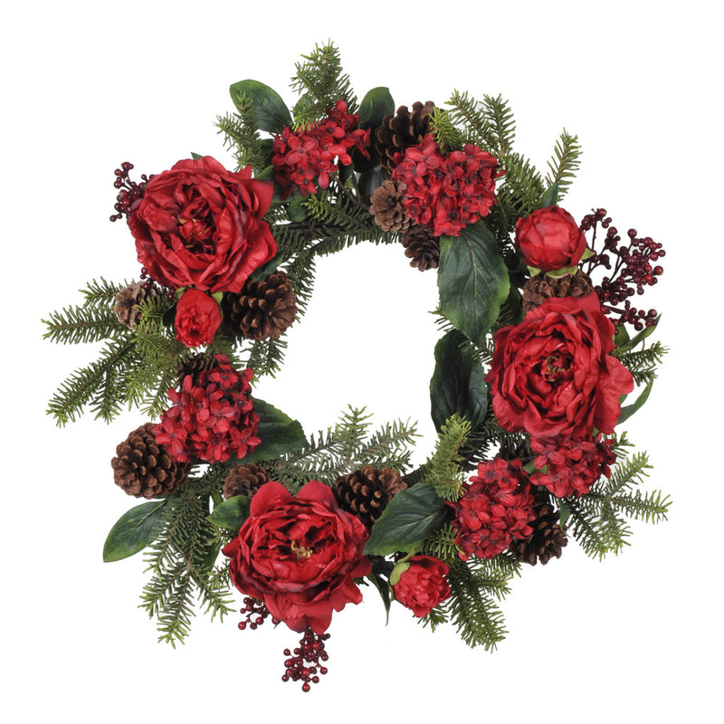 "22"" Red Peony/Hydrangea/Berry/Pine Wreath - House of Silk Flowers®"