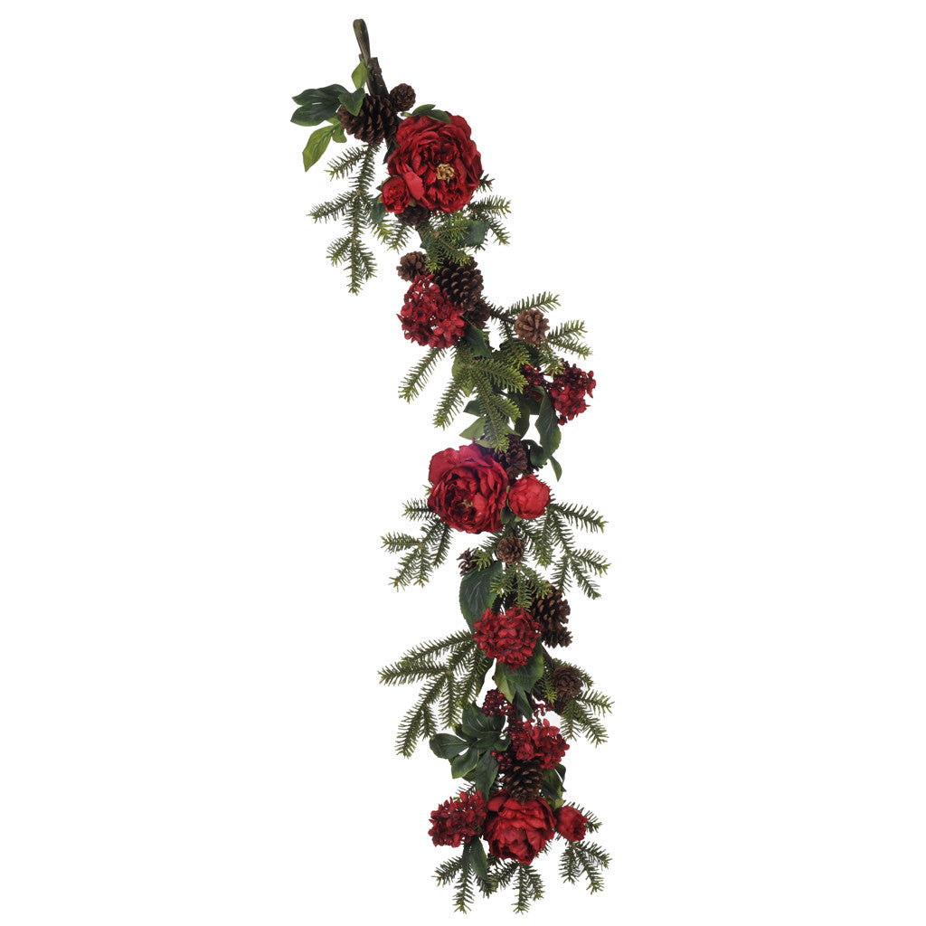 "48"" Red Peony/Hydrangea/Berry/Pine Garland - House of Silk Flowers®"