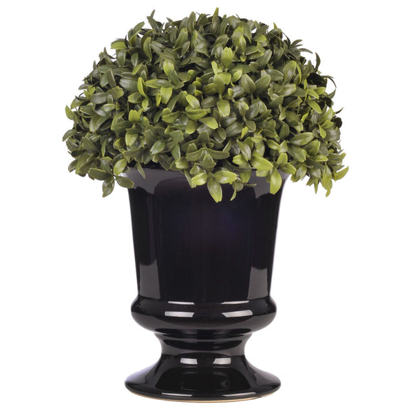 "Artificial 11 1/2"" Half Ball Topiary in Ceramic Black Urn"