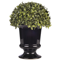 "Artificial 11 1/2"" Half Ball Topiary in Ceramic Black Urn - House of Silk Flowers®"