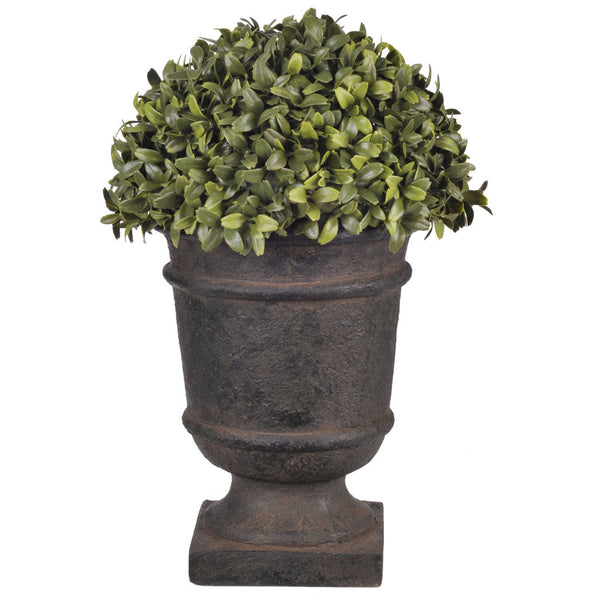 "Artificial 13"" Half Ball Topiary in Stone-Look Urn"
