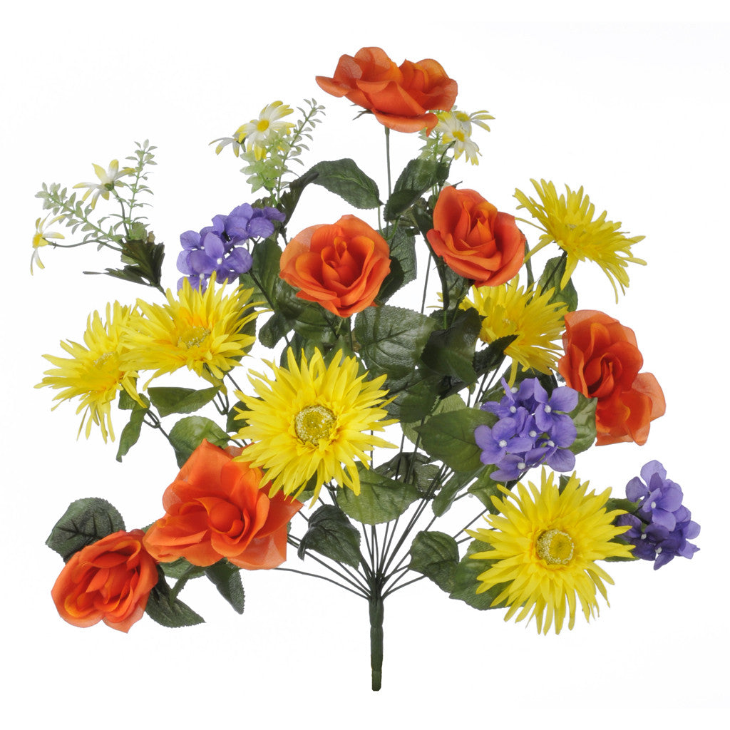 "Artificial 22"" Orange/Yellow/Purple Rose/Gerbera/Hydrangea Bush - House of Silk Flowers®"