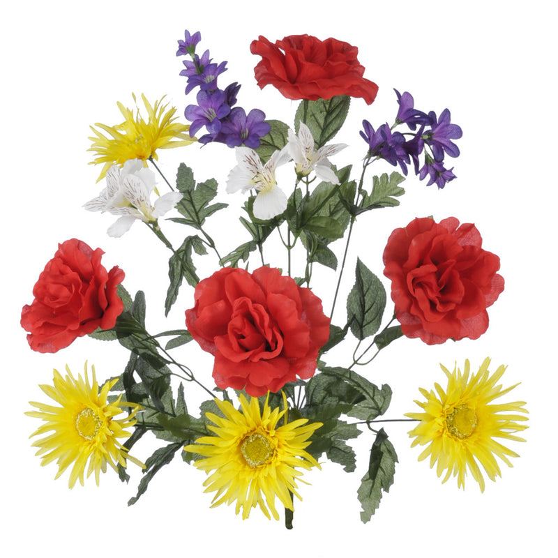 "Artificial 22"" Red/Yellow/Purple Rose/Gerbera Daisy/Delphinium Bush - House of Silk Flowers®"