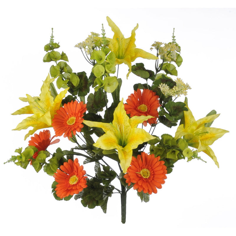 Artificial 25 Inch Orange Yellow Green Gerbera Tiger Lily Ireland Bell House Of Silk Flowers