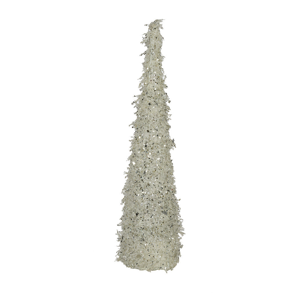 "White/Silver Iced 24"" Cone Tree"