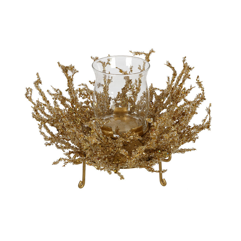 Gold Ice Single Candle Holder