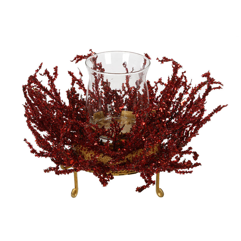 Red/Gold Ice Single Candle Holder