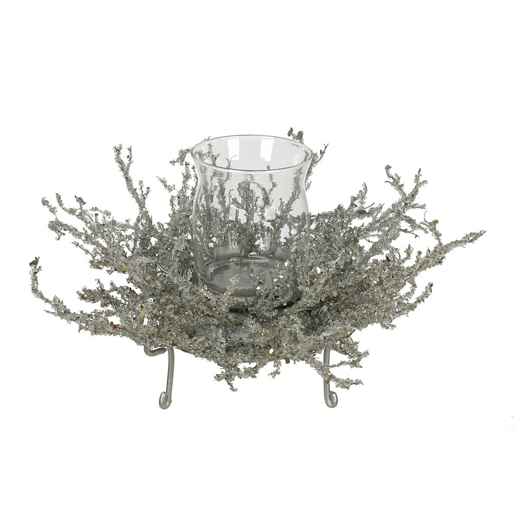 Silver Ice Single Candle Holder