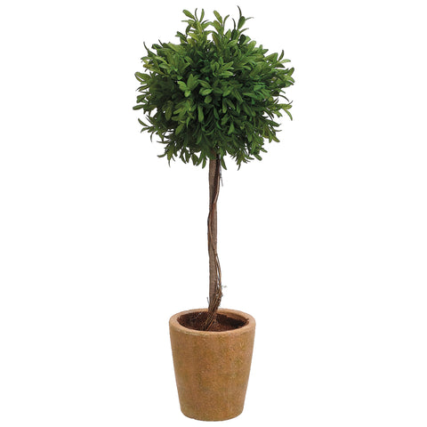 Artificial 19-inch Tea Leaf Ball Topiary in Distressed Terra Cotta Pot