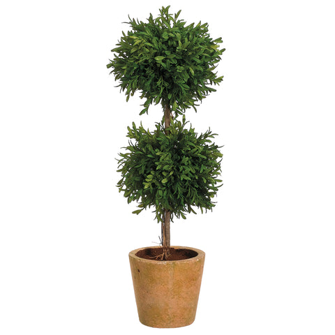 Artificial 23-inch Tea Leaf Double Ball Topiary in Distressed Terra Cotta Pot