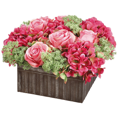 Artificial Pink Roses and Hydrangea in Square Distressed Tin Box