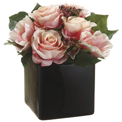 Artificial Pink Rose/Anemone/Viburnum Berry in Ceramic Vase - House of Silk Flowers®